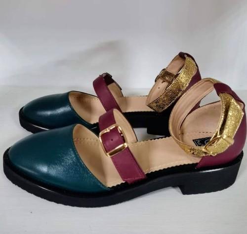 """Patogieji sandalai """"Bordo-žalia-auksas"""""""